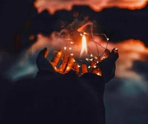 fire, hands, and lights image