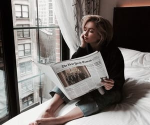 girl, newspaper, and morning image