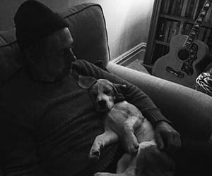actor, black and white, and dog image