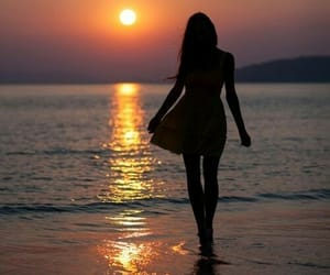 dress, sunset, and girl image