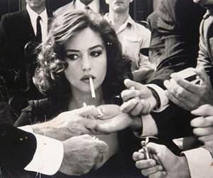 cigarette, woman, and smoke image