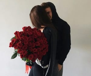 rose, couple, and red image