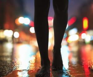 bare feet, walking, and lights image