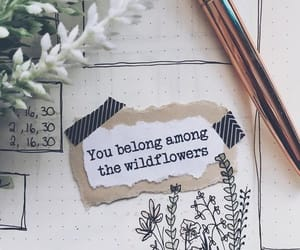 flowers, quote, and bullet journal image