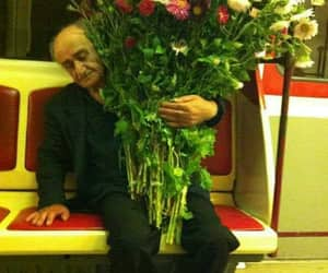bouquet, flowers, and old man image