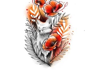 floral, fox, and tattoo image
