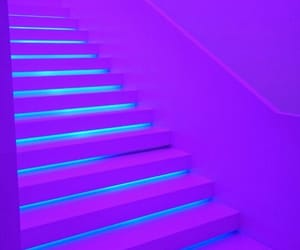 purple, neon, and stairs image