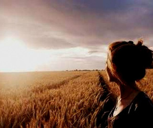 field, girl, and sky image