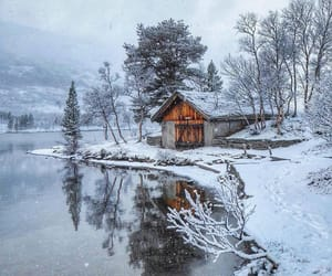 barn, snow, and cabin image