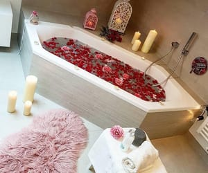 bathtub, flowers, and happy image