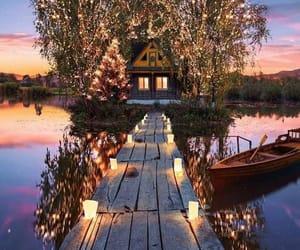 lights, beautiful, and lake image