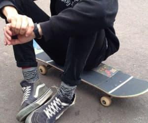 boy, grunge, and skateboard image