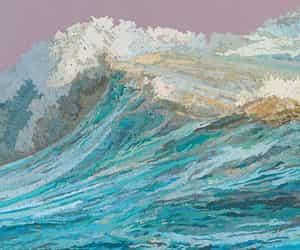 art, waves, and ocean image