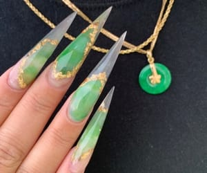 acrylic, gold, and green image