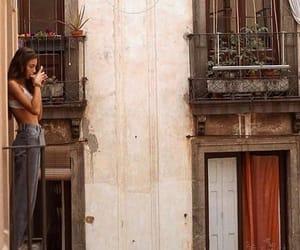 girl, coffee, and balcony image