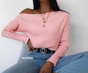 outfit, pink, and sweater image