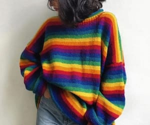 fashion, rainbow, and sweater image