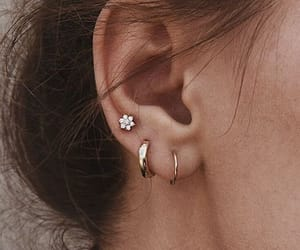 earrings, flower, and gold image