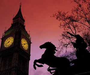 Big Ben, horse, and london image