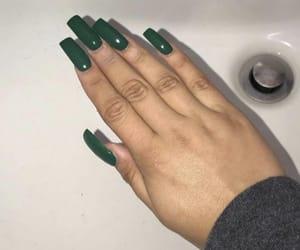 art, green, and green nails image