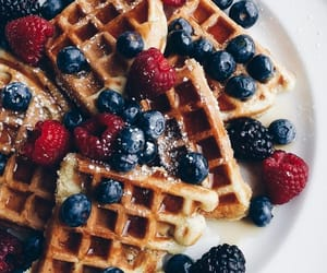 food, waffles, and fruit image
