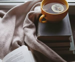 books, tea, and vintage image