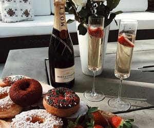 champagne, donuts, and food image