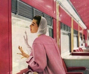 pink, vintage, and train image