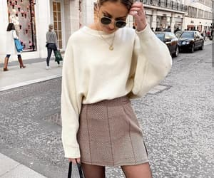 fashion, knitwear, and mini skirt image