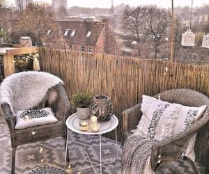 art deco, balcony, and blankets image