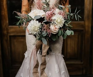 bride, flowers, and dress image