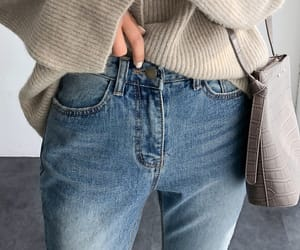 beige, boyfriend jeans, and fashion image