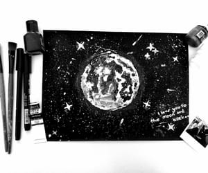 art, black, and moon image