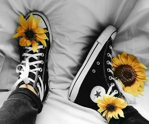 shoes, sunflowers, and yellow image