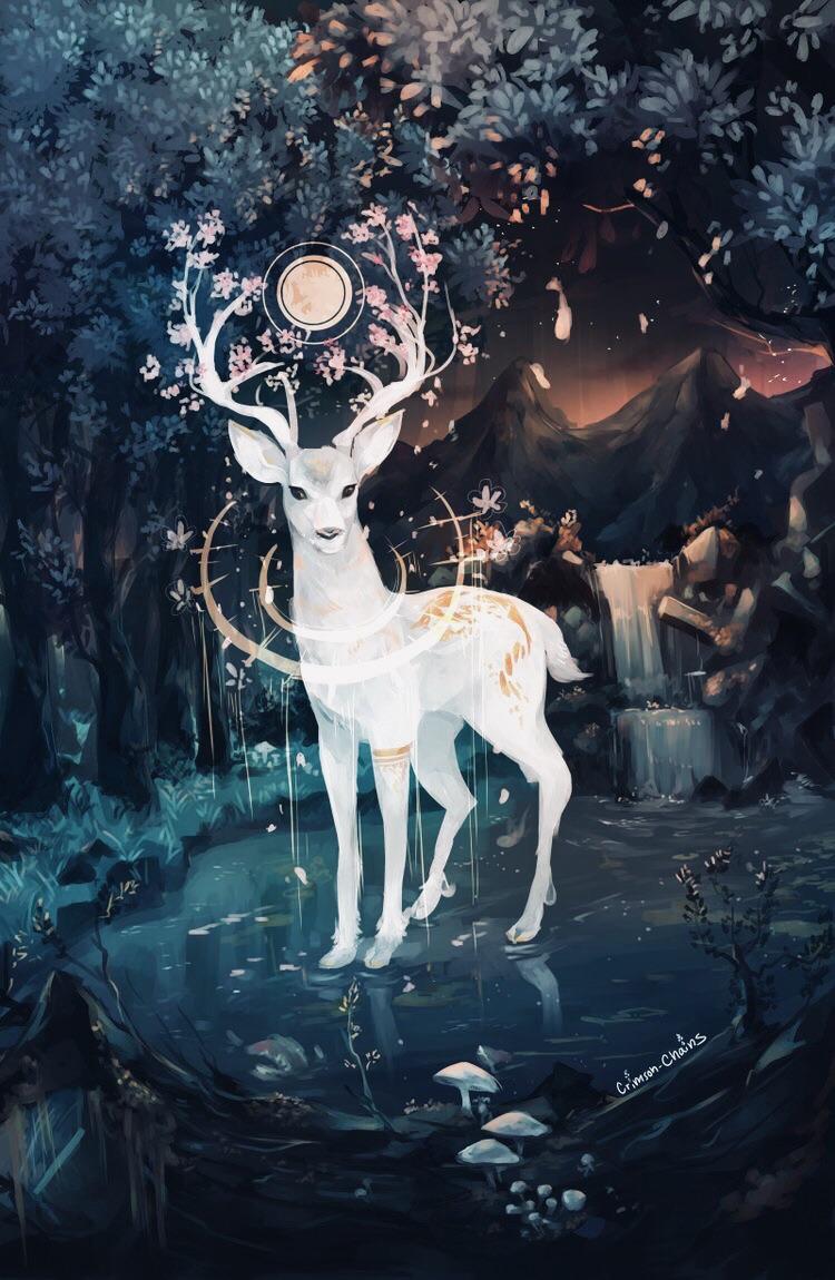 art, deer, and magic image