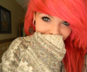pink hair and scene image