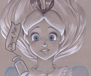 alice, disney, and drawing image