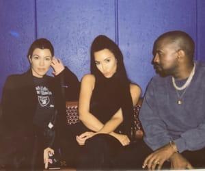 kanye west, kourtney kardashian, and kim kardashian image