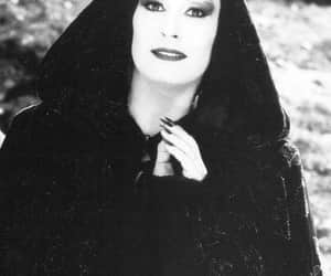 black and white, Morticia Addams, and the addams family image