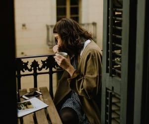 coffee, balcony, and girl image