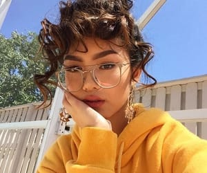 girl, yellow, and glasses image