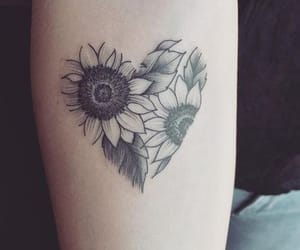 tattoo, ink, and sunflower image