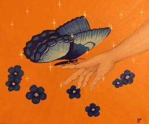 art, blue, and butterflies image