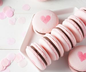 pink, heart, and ‎macarons image