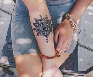 body art, ink, and lotus flower tattoo image
