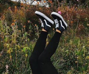vans, flowers, and black image