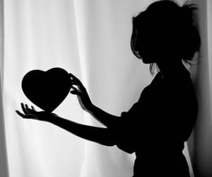 heart, girl, and black and white image