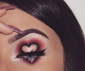 makeup, nails, and heart image