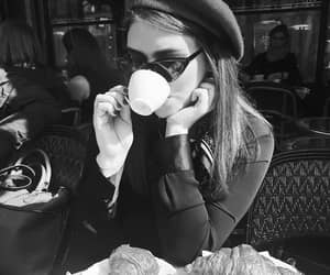 black and white, coffee, and croissants image