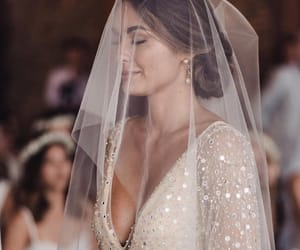 wedding, wedding dress, and woman image